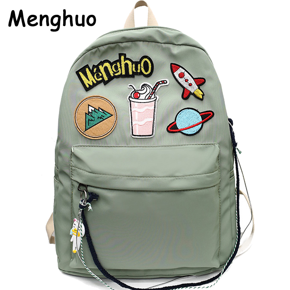 2018 MENGHUO Brand Design Badge Women Backpack Bag Fashion School Bag for Girls Female Chain Backpack Lady Shoulder Bag Mochilas tegaote new design women backpack bags fashion mini bag with monkey chain nylon school bag for teenage girls women shoulder bags