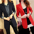 Women One Button Small Suits Solid Color Slim Blazer Medium Long Section Coats