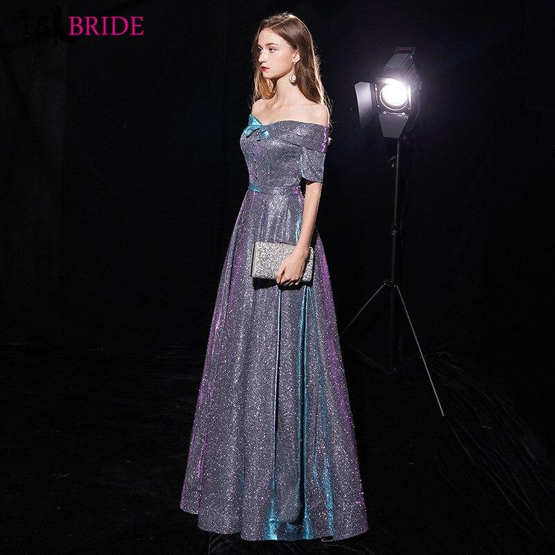 Robe de soirée brillante col bateau longues robes de soirée élégantes robes de soirée pour femmes élégantes 2019 robes d'occasion spéciale ES1966 - 3