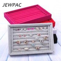 JEWPAC серый/черный/розовый красные бархатные украшения палец кольцо держатель украшения для лотков Коробка с разделениями для магазина счет...