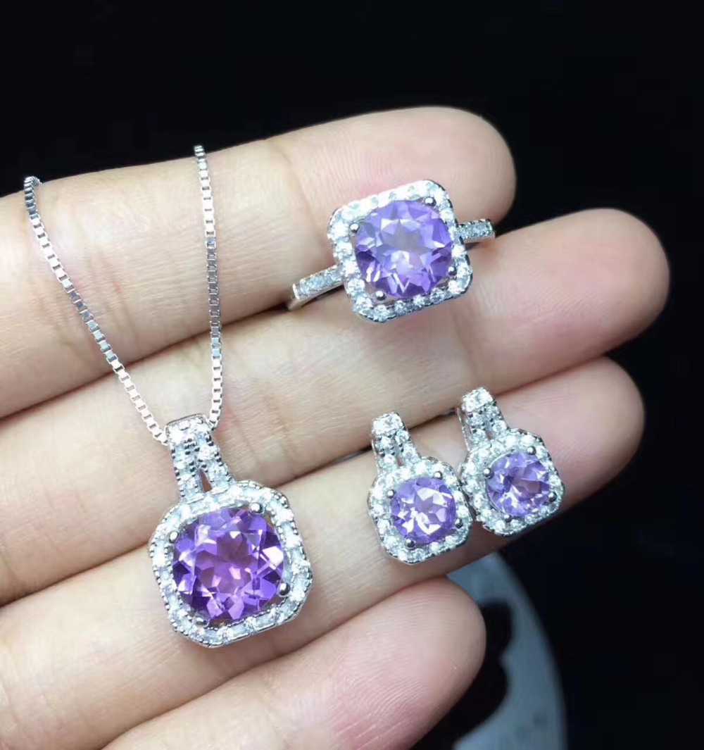 Natural Amethyst Ring Pendant Earrings Gemstone Jewelry Set S925 Silver Clic Square Women Party In Sets From