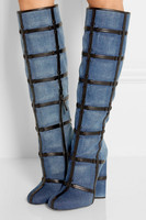 Riband Hot Selling Women Denim Riding Knee High Fall Winter Boots High Heel High Quality Long