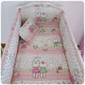 Promotion! 6PCS crib baby bedding Sets 100% cotton baby safety fence, washable bed around kits,(bumper+sheet+pillow cover)