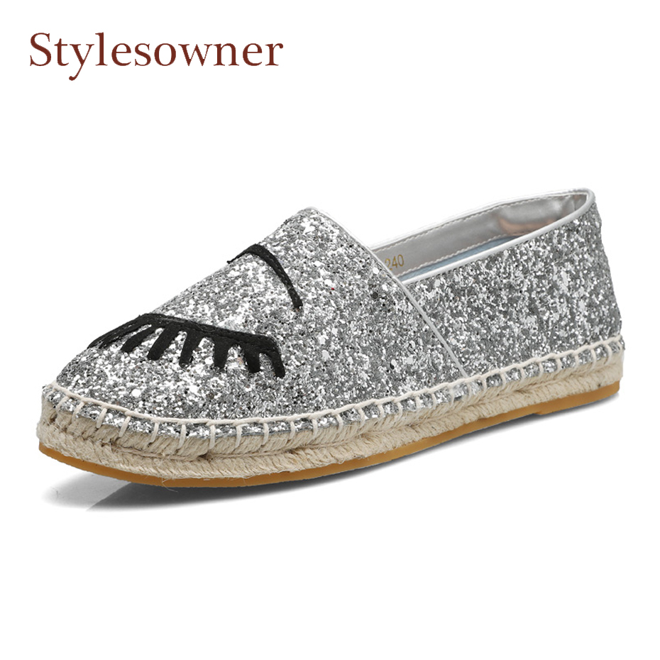 Stylesowner newest straw weaving solo thick heel women flats shoes bling bling slip on big eyes decor cozy leisure style shoes