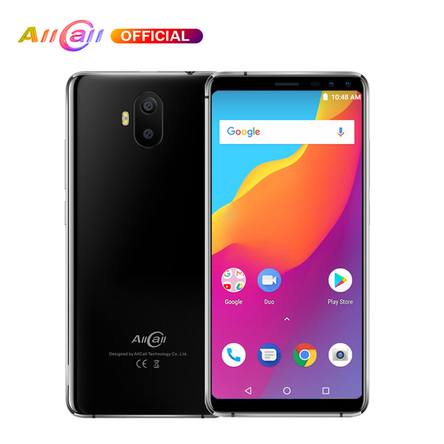 Batterie d'origine AllCall S1 5.5 18:9 5000 mAh Android 8.1 MTK6580A Quad Core 2 GB RAM 16 GB ROM 8MP + 2MP caméras Smartphone