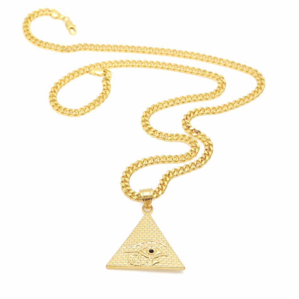 UWIN Men Women Vàng Eye Of Horus Mặt Dây Chuyền Thép Không Gỉ Màu Vàng Ai Cập kim tự tháp Hip hop Vòng Cổ Thời Trang Punk Trang Sức