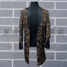 mens black full sequined leopard beading long jacket /dance/jazz/trendy stage performance jacket