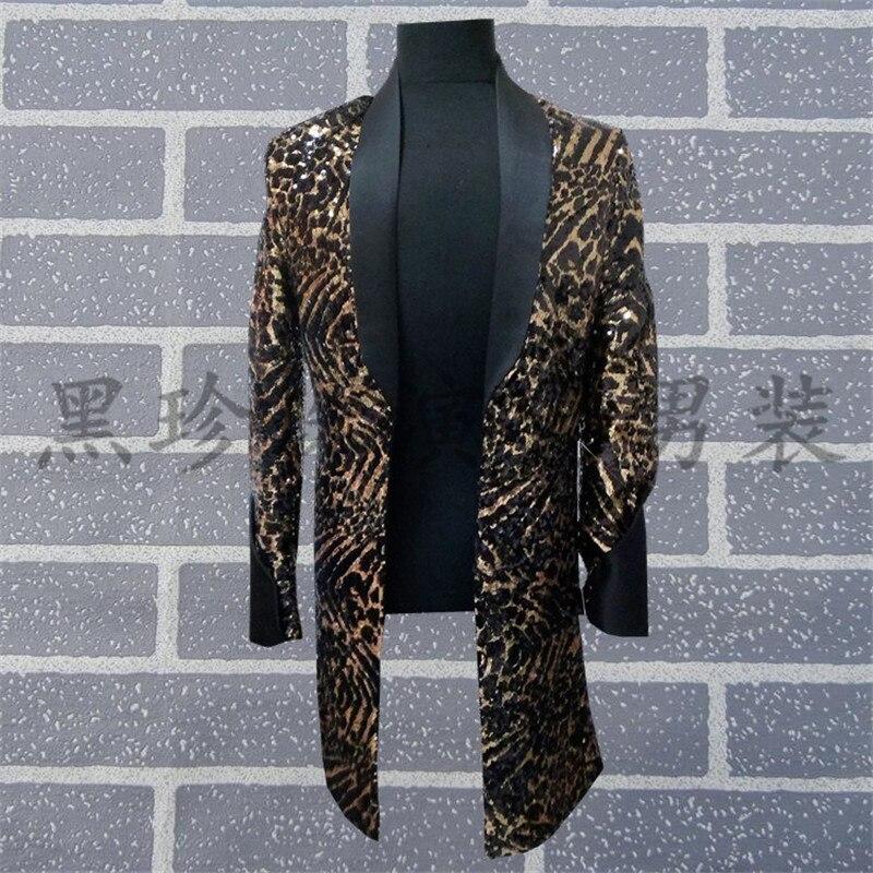 mens black full sequined leopard beading long jacket /dance/jazz/trendy stage performance jacket