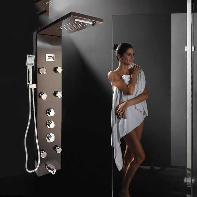 2019 New Style Dark Gray Shower Column Bathroom Wall Mounted One Handle Hand Shower Tub Spout Massage System Shower Panel