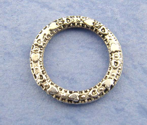 DoreenBeads Zinc Metal Alloy Closed Soldered Jump Rings Round Antique Silver Pattern Pattern 14.0mm( 4/8