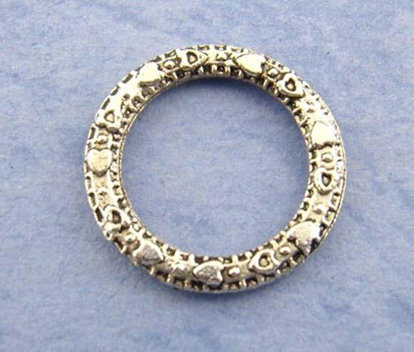 DoreenBeads, закрытый пайка из металлического сплава, круглые кольца серебристого цвета с узором, диаметр 14,0 мм (4/8 дюйма), 20 шт., новинка 2015|Ювелирная фурнитура и компоненты|   | АлиЭкспресс