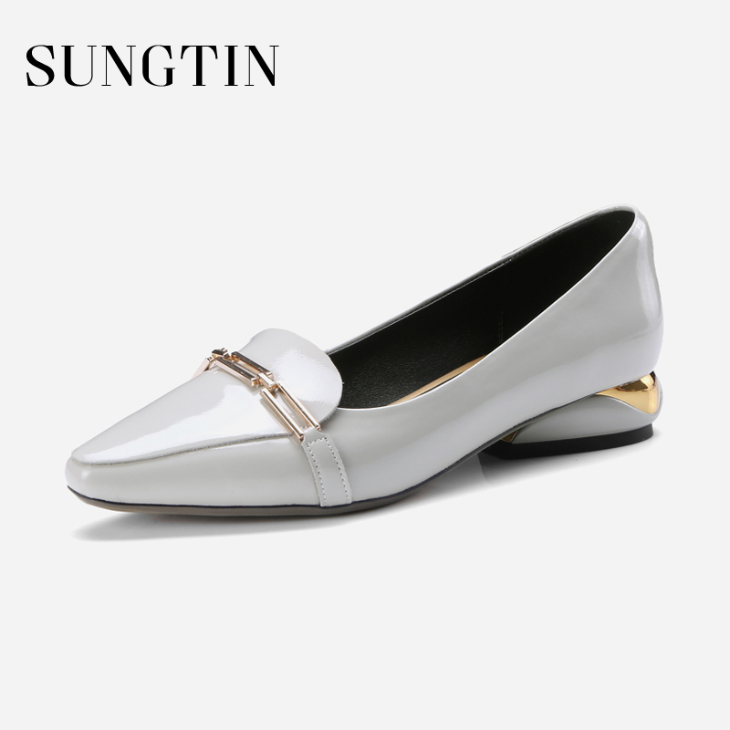 Sungtin Classic Handmade Genuine Leather Shoes Women Casual Loafers Chic Metal Slip-On Pointed Toe Flats Lady Chunky Heel Shoes фильтр угольный cf 101м
