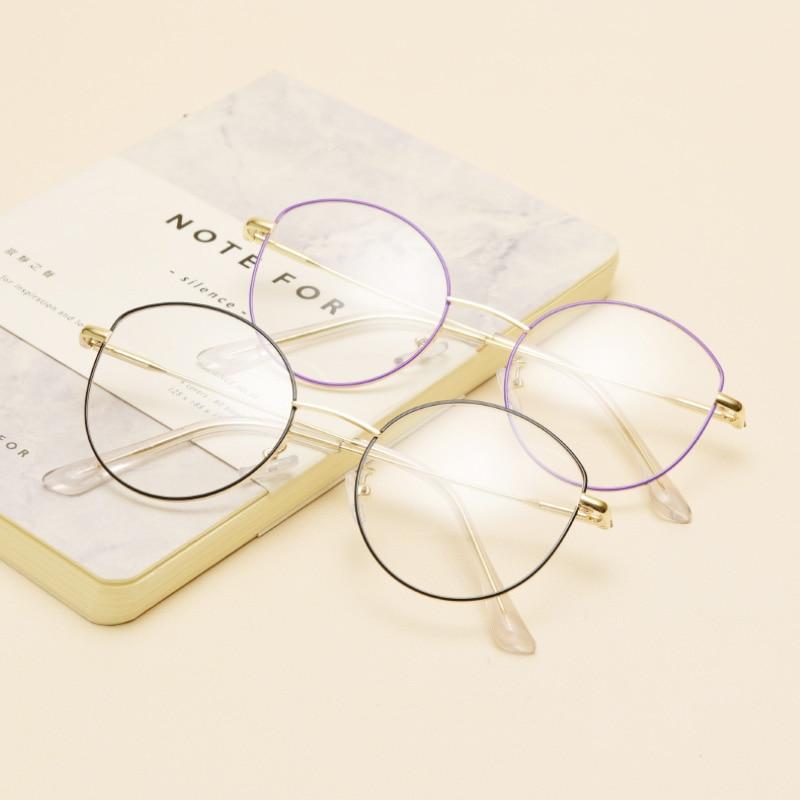 Brand round vintage glasses frame women cateye optical glasses frame gold eyewear prescription glasses big 5942