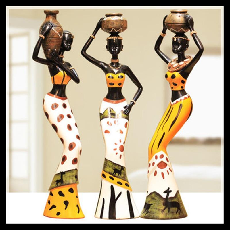 3 Unidsset Regalo Creativo Vintage Niñas Africanas Resina Decoración Manualidades Muñecas Adornos Accesorios Para El Hogar Decoración De La Sala