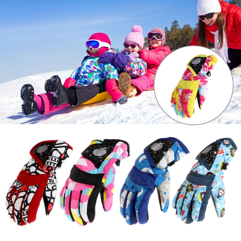 Skis Gloves Winter Kids Children Windproof Waterproof Snowboard Riding Accessory