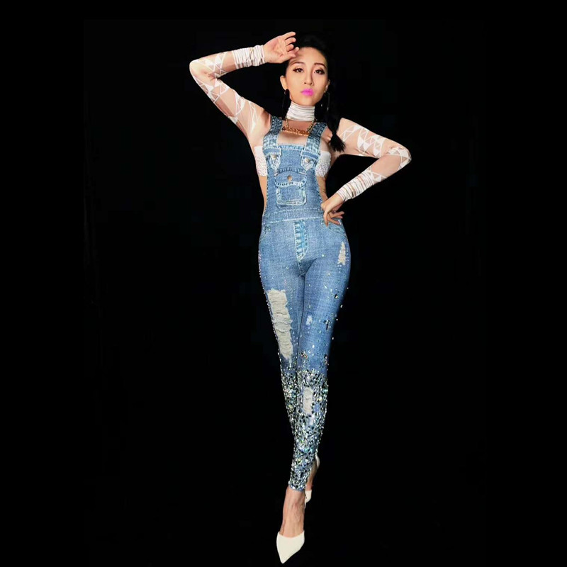 Dj Usure Imprimer Sexy Femmes Club Salopette Bella Multi Dancing Christia Stretch Body Pole Chanteur Costumes Performance Strass Jeans aSBXqv