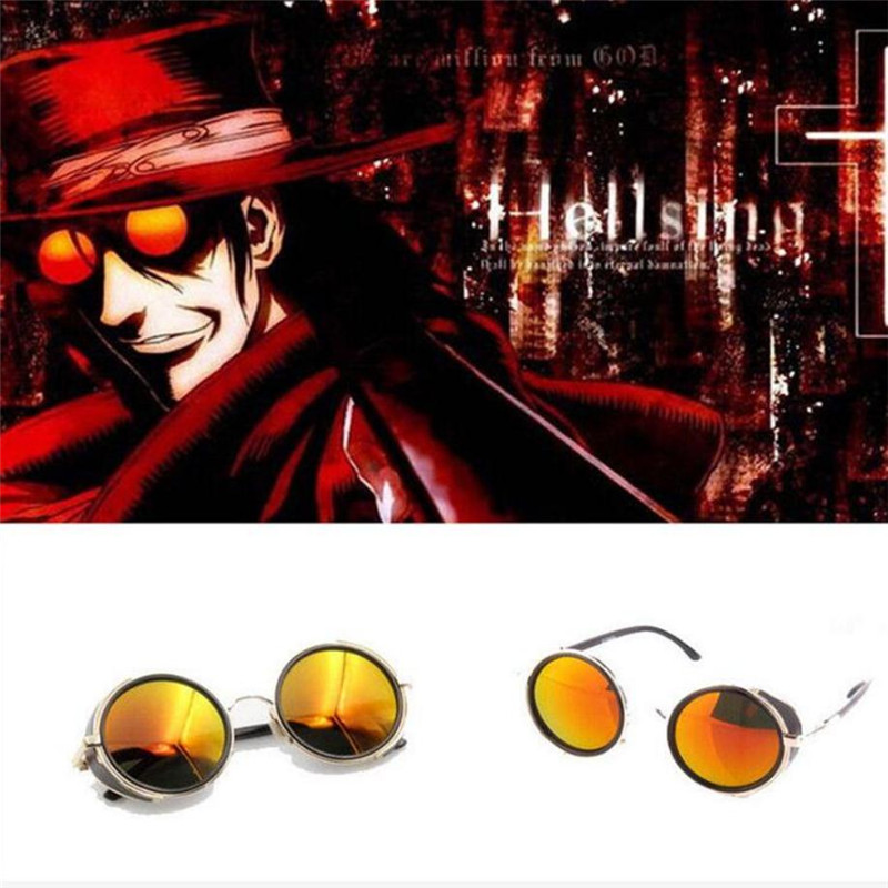 Hot sale Anime HELLSING Alucard Glasses Orange Sunglasses Cosplay High Quality Prop Party Carnival Christmas Halloween For Men