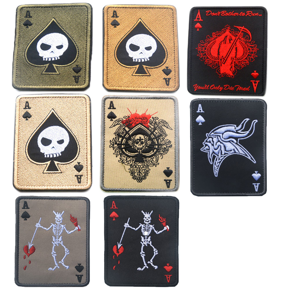 Embroidery Badge Death Card Poker Ace Of Spades Patches