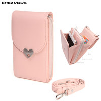 CHEZVOUS Women PU Leather Phone Pouch Bags for iPhone X XS 6 7 8 plus 5s Small Crossbody Shoulder Bag for Samsung S9 S8 plus S7