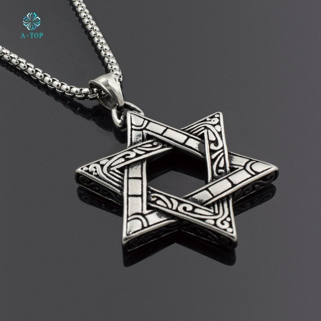 Mens stainless steel necklace silver star of david pendant 24 mens stainless steel necklace silver star of david pendant 24 round box chain free shipping aloadofball Choice Image