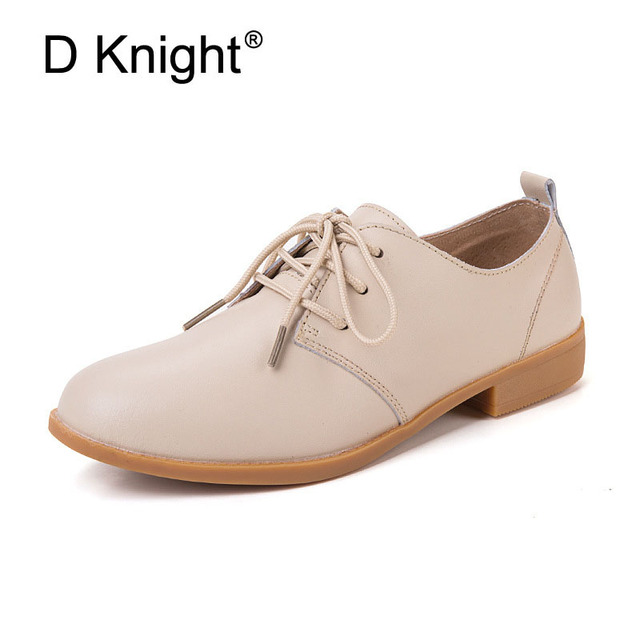 New Women Genuine Leather Oxford Shoes Fashion Round Toe Lace Up Women Flats  Ladies Cow Leather