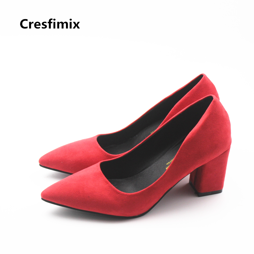 Cresfimix women fashion red high heel pumps lady casual black high heel shoes female spring & summer slip on shoes zapatos mujer cresfimix women fashion