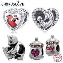 Choruslove Mother Baby Love Charm Authentic 925 Sterling Silver Heart Mom Bead fit Pandora Charms Bracelet DIY Women Jewelry