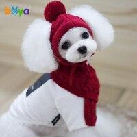 ボヤ新しい暖かいウール素敵な犬帽子調整可能な犬スカーフ用小大ペット猫冬ペット製品犬アクセサリ