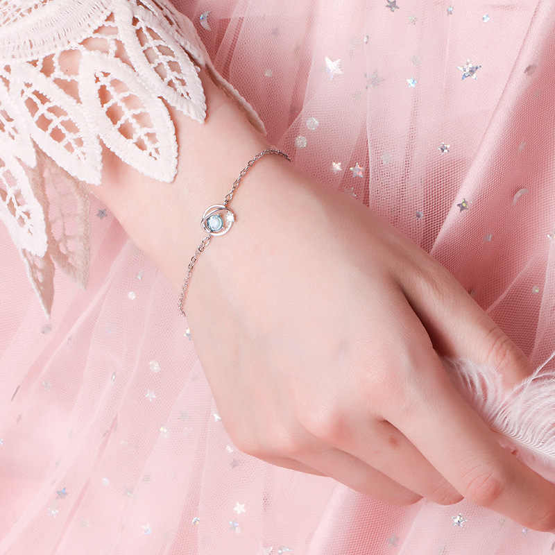 2019 mới dễ thương sao thủ công tinh thể màu xanh hành tinh armband tiff 925 sterling bạc vòng đeo tay của phụ nữ vòng đeo tay đồ trang sức miễn phí vận chuyển