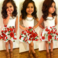 Rose Design Girls Summer Clothes Sets Kids Tank Tops Skirt Fashion Babys Sleeveless Party Wear Clothing Set D04X68
