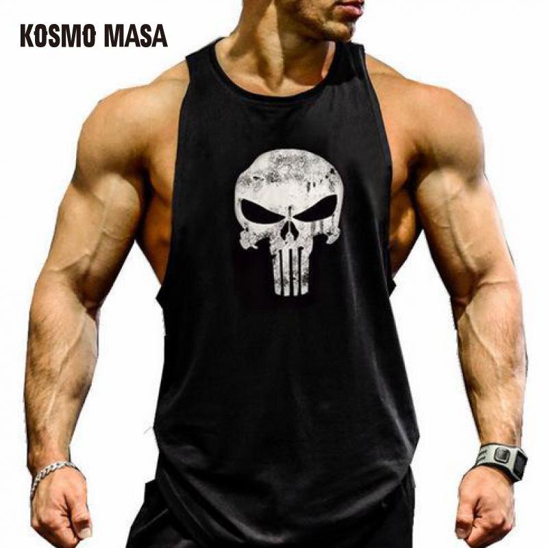 KOSMO MASA 2018 Schädel Bodybuilding Fitness Stringer Männer Tank Top Golds Gorilla Tragen Weste Unterhemd Tank Tops MC0303
