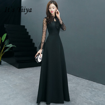 It's YiiYa Evening Dress Long Sleeve O-neck Black Fashion Formal Dresses Elegant Dot Pattern Party Gown For Women E062 - discount item  37% OFF Special Occasion Dresses