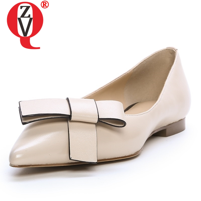 ZVQ shoes women spring new concise casual high quality genuine leather pointed toe women flats outside
