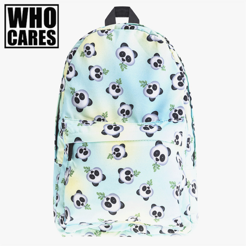 Eomji Panda Print backpack women mochila necessaire Who Cares school bags bookbag for teenage girls sac a dos canvas backpack vintage cute owl backpack women cartoon school bags for teenage girls canvas women backpack brands design travel bag mochila sac