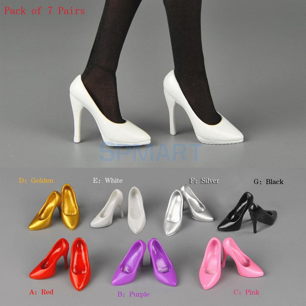 Pack of 7 Pairs 1/6 Scale High Heels Court Shoes Accessories for 12'' Female Action Figure Hot Toys Phicen Kumik CY CG Dresses