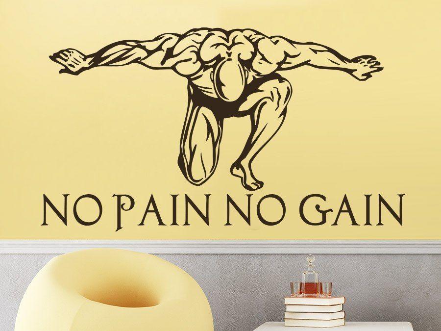 Sport Muurtattoo Quotes Geen Pijn Geen Gain Muurstickers Body