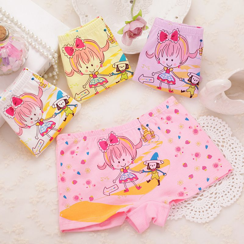 2016 Sale Calcinha Infantil Pcs/lot Material The Childrens Underwear Girls Baby Girl Boxer Pure Cartoon Pants For Girls 6200