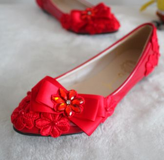 ФОТО 2017 new design hand made red flats party shoes comfortable flat heel bow bowtie womens wedding shoes red TG409 sales