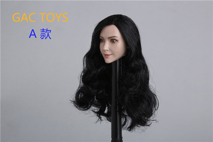 1 6 Scale Asia Beautiful Female Head Sculpt A B Styles with Long Short Hair for