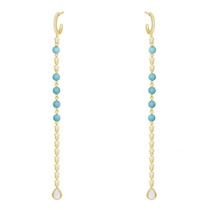 SLJEL Women 925 Sterling Silver Yellow Gold Color Stones Beads Long Leaves Earrings Micro Pave Zirconia