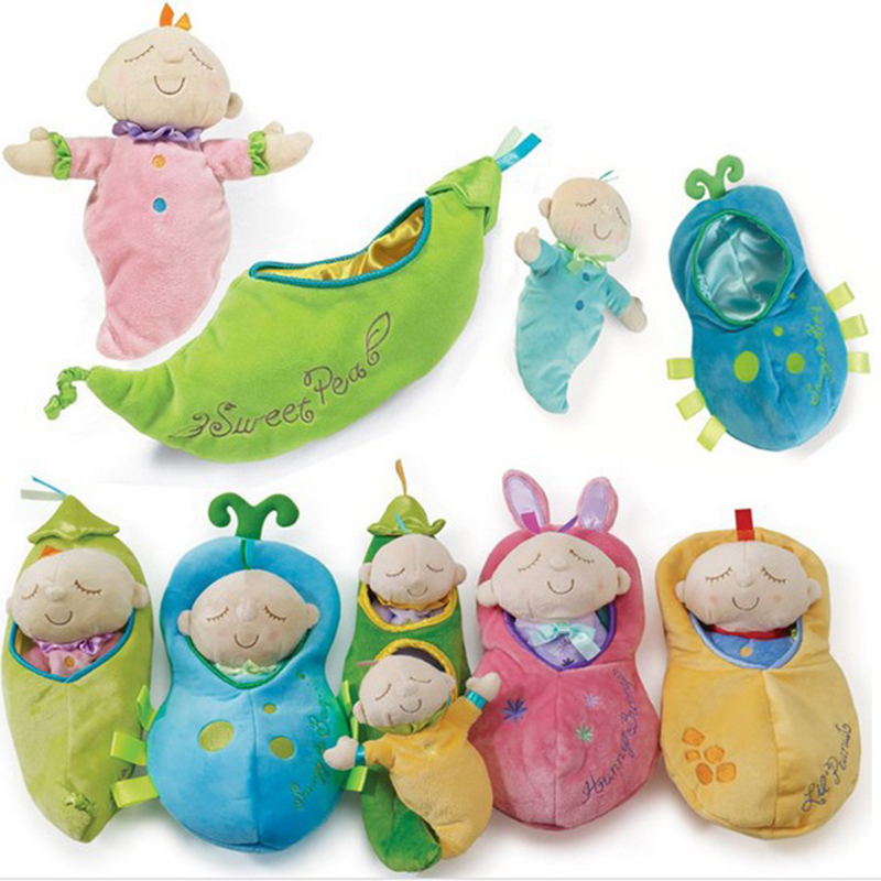 0-12 Months Baby Plush Pea Pod Toys Kids Toy Snuggle Pod Sweet Pea Infant Doll Soft Sleep Toy Children Christmas Gift