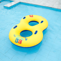 Parent child 8 Shape Thicken Inflatable PVC Swimming Ring Pool Float Air Mattress Beach Water Fun Toy For Kids With Handle
