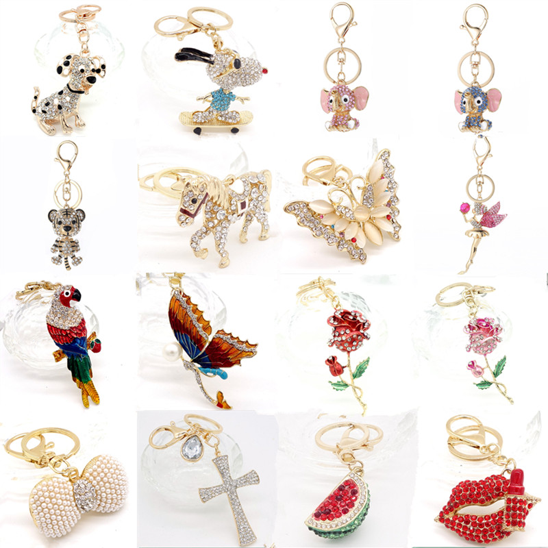 Keychain Animal Keyring Purse Bag Rhinestone Crystal CZ Key Chains Charm Pendant Necklace Gift