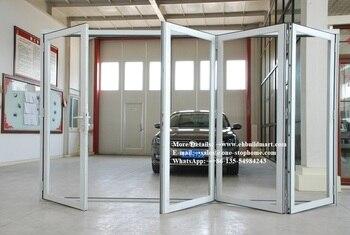 Metal Aluminum Kerala Lowes Cheap Accordion Folding Doors Exterior Soundproof Transparent Glass Bi Fold Door Leather Bag