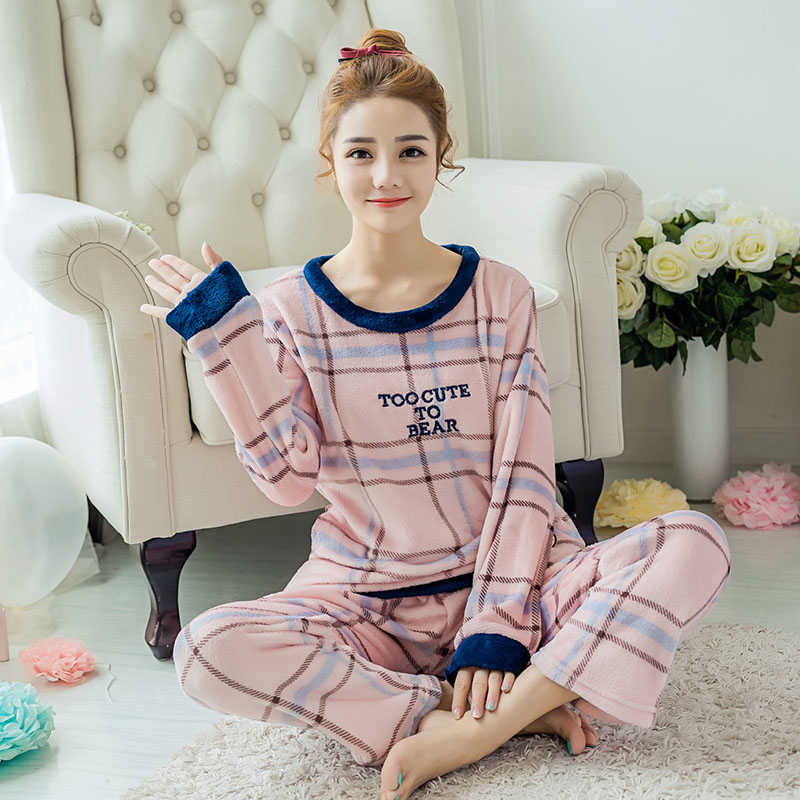 how to serch select for best sophisticated technologies US $27.39 |Smile Plus Size Flannel Pajamas Sets Pink Strip Sleepwear Winter  Warm Pajama Pijama Set For Women & Girls Homewear-in Pajama Sets from ...