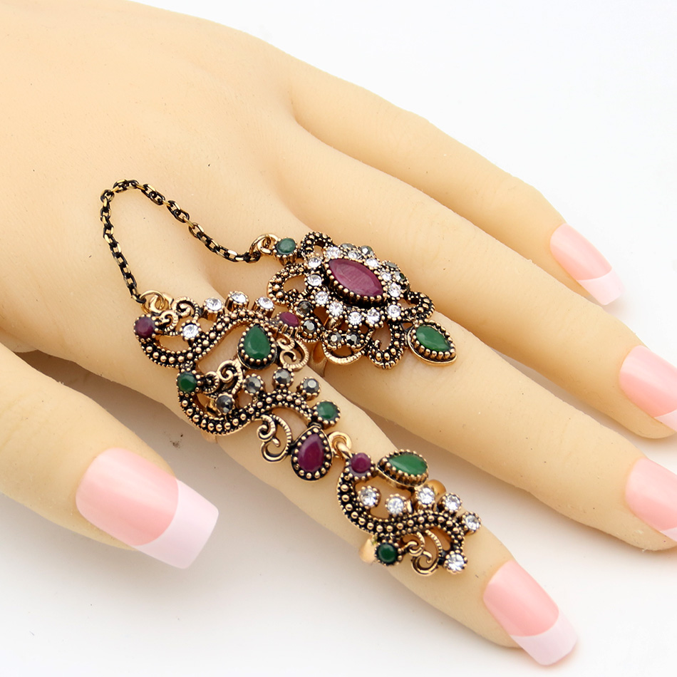 Vintage Flower Turkish Rings Adjustable Size Women Colorful Resin Antique Gold Jewelry Link Two Fingers Ring Festival Anillos