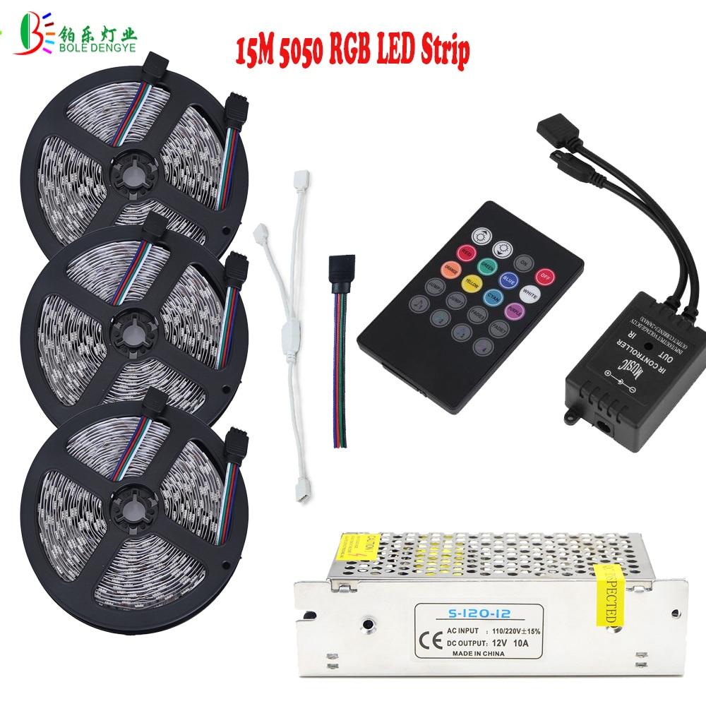 15M 10M 5M 5050 RGB ūdensnecaurlaidīgs LED lentes elastīgais lentes gaismas mūzikas kontrollera skaņas sensora vadība AC110V / 220V barošanas avots