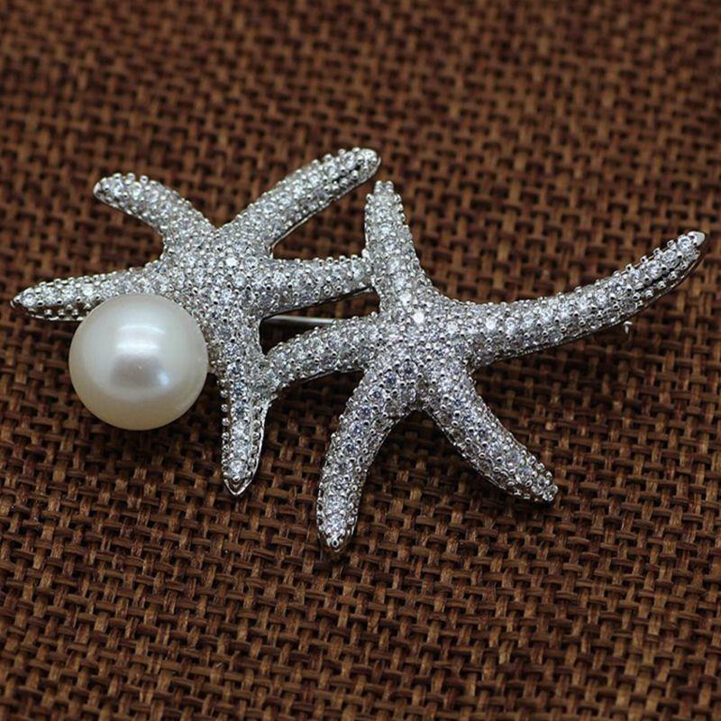 ASHIQI karficë zbukurimi me perla ujërave të ëmbla për një karficë të madhe karamele me rhinestone Pin bizhuteri nusesh martese të nuses