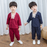 Boy Chinese National Hanfu Red Chinese Folk Dance Ancient China Costume Hanfu Kids Clothing Tang Suit Stage Costumes 2pcsDQS1946