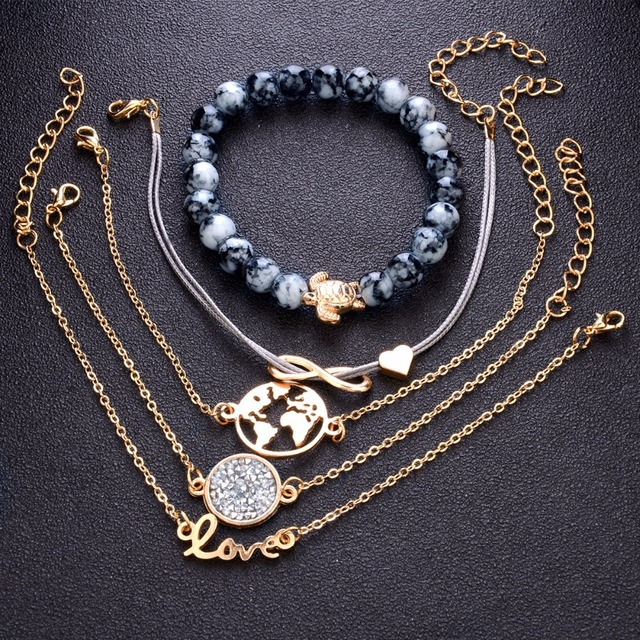 Turtle Charm Bracelets Bangles For Women Fashion Gold Color Strand Bracelets